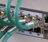 Network cables in a patch panel for the connection of the comput — Stock Photo