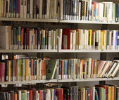 Books on loan in a big Italian municipal library 1 — Stock Photo