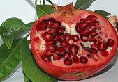 Rojo granada madura con frijoles muy jugosas y hojas — Foto de Stock