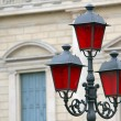 Stock Photo: Historical lantern with Christmas red glass for street furniture