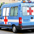Ambulance van of Italian police and Red Cross — Stock Photo