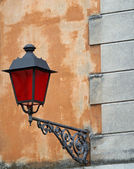 Lantern with Christmas red glass for street furniture of great h — Stock Photo