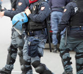 Police in to quell the riot city uprising of protesters — Stock Photo