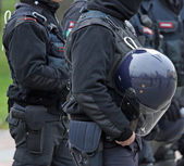 Reinforced protective helmet for police officers during a riot — Stock Photo