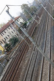 Railroad tracks in the middle of the city — Stock Photo