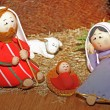 Stock Photo: Jesus, Joseph and Mary in manger