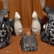 Nativity scene with characters dressed in black — Stock Photo