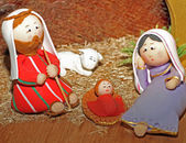 Jesus, Joseph and Mary in a manger — Stock Photo
