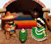 Mexican Hispanic Nativity with Joseph with a broad black moustac — Stock Photo