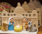 Natividad con la basílica de san pedro en el vaticano — Foto de Stock