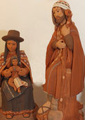 Holy family with clothes Bolivians 3 — Stock Photo