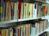 Books and essays, novels, volumes in a municipal library availab — Stock Photo