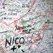 Stock Photo: Messages of love on the wall of the House of romeo and Juliet in