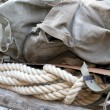 Stock Photo: Soldier's backpack old climber of World War I with sturdy ro