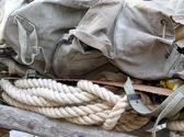 Soldier's backpack old climber of World War I with the sturdy ro — Stock Photo