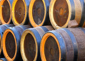 Barrels to contain the spirits like brandy or wine cellar — Stock Photo