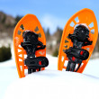 Orange snowshoes for walking on the white snow and blue sky — Stock Photo #42118971