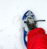 Blue snow shoes for walking on snow — Stock Photo