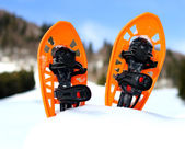 Orange snowshoes for walking on the white snow and blue sky — Stock Photo