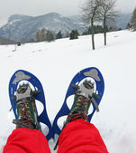 Blue snow shoes for walking on fresh snow mountain with red snow — Stock Photo