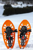 Snowshoes for walking on the soft snow on the high mountain — Stock Photo