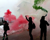 Italian protest with protesters — Stock Photo