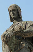 Emblematic expression of Dante in a fine bronze statue — Stock Photo