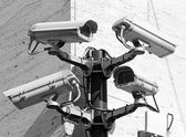 Camera for video surveillance and control in a dangerous city po — Stock Photo