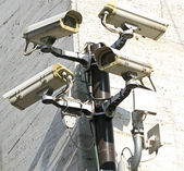 Camera for video surveillance and control of city traffic — Stock Photo