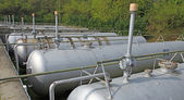 Vents of the huge tanks for the storage of natural gas — Stock Photo