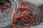 Containers full of many electrical cables and copper cables — Stock Photo