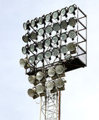 Lamps for illuminating the night matches at the stadium — Stock Photo