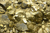 Rock with mineral crystals or gold just found by Geologist — Foto Stock