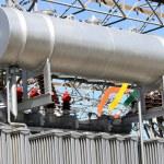 Gigantic oil tank in transformer power station — Stock Photo #44345877