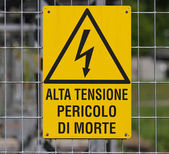Yellow sign for danger high voltage attention 1 — Stock Photo