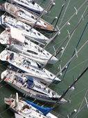 Yachts and motor boats moored in the prestigious Harbour — Stock Photo
