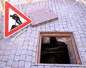 Excavation and repair work and the signal — Stock Photo