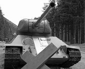 Big  tank used during the war in defense of the roadblock — Stock Photo
