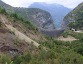 Vajont dam seen from the monte toc landslide 2 — Stock Photo