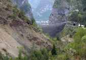 Vajont dam seen from the monte toc landslide 1 — Stock Photo