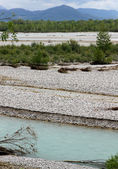 Friuli plain by the river TAGLIAMENTO and the Alps — Stock Photo