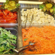 Steel trays with fresh vegetables in a self-service restaurant 1 — Stock Photo #45846217