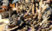 African wooden masks crafts for sale at the market — Stock Photo