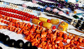 Colorful necklaces for sale in the local market stall in town  3 — Foto Stock