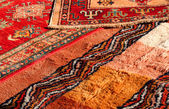 Precious Middle Eastern rugs Handmade wool for sale in the antiq — Stock Photo