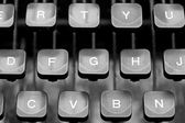 Keyboard keys of an old typewriter mechanics — Stock Photo