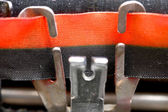 Close up of black and Red Ribbon of an ancient Italian mechanica — Stock Photo