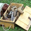 Antique rust working tools for carpenters and Farriers — Stock Photo #48302731