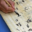 Child writing with black ink on an Egyptian Papyrus parchment — Stock Photo #48302779