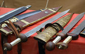 Swords for sale at the market of medieval relics 2 — Stock Photo
